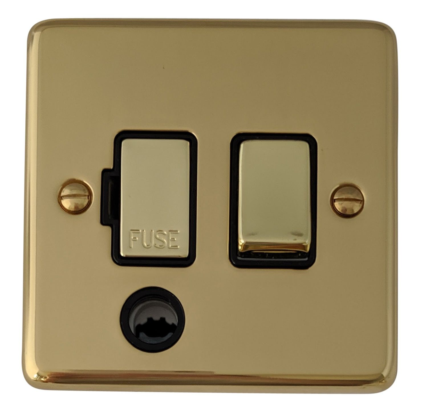 G&H CB356 Standard Plate Polished Brass 1 Gang Fused Spur 13A Switched & Flex Outlet