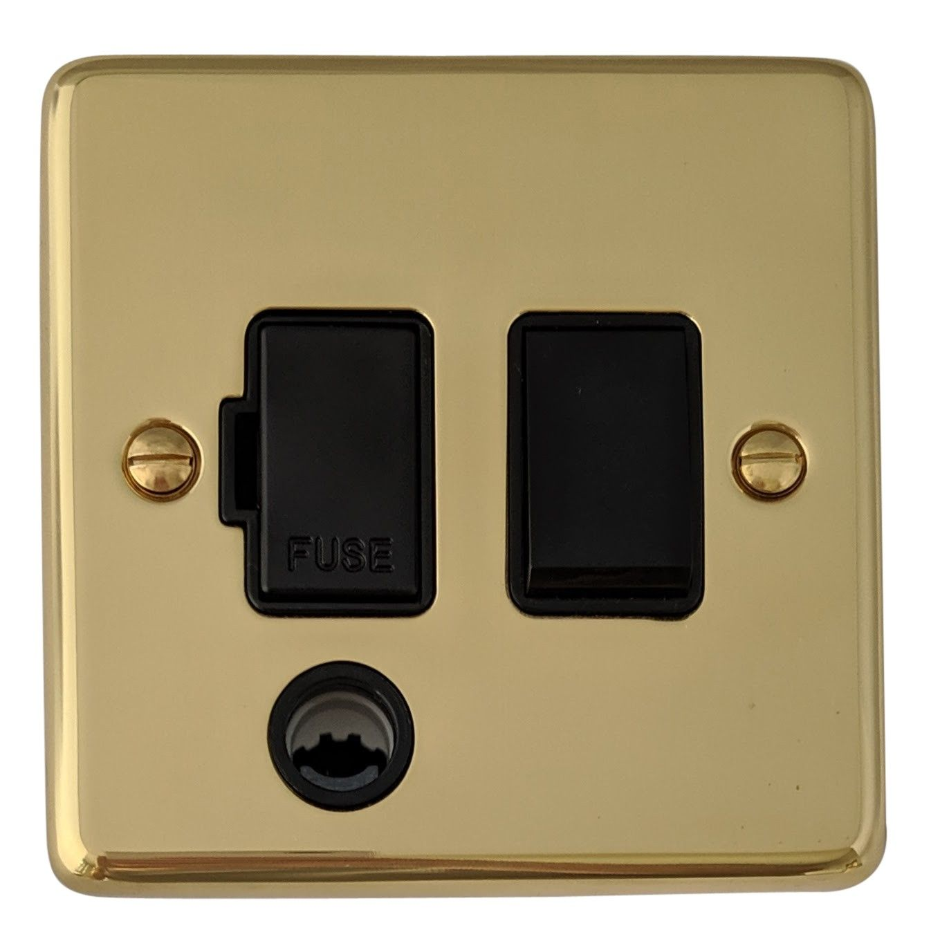 G&H CB56B Standard Plate Polished Brass 1 Gang Fused Spur 13A Switched & Flex Outlet