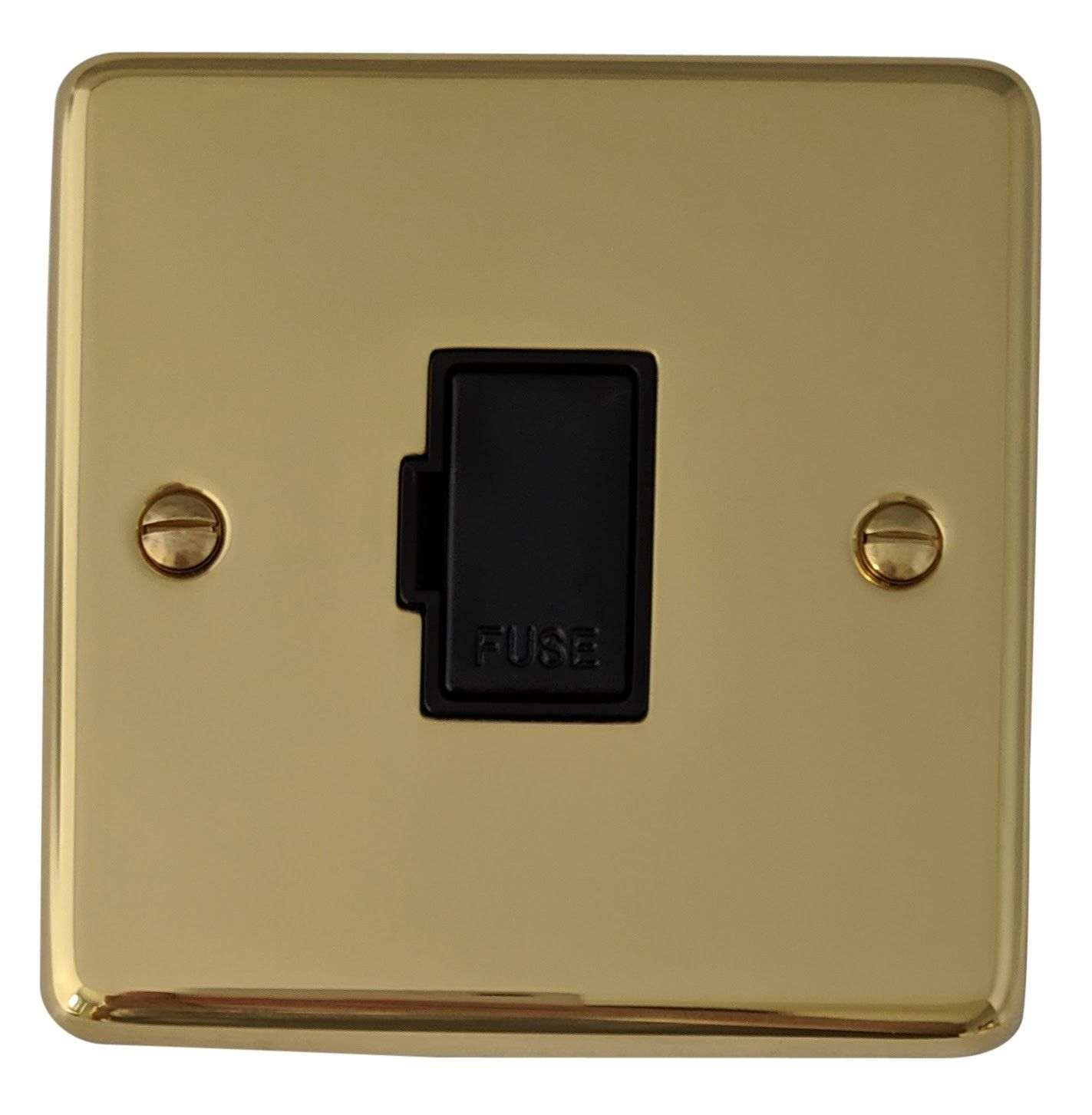 G&H CB90B Standard Plate Polished Brass 1 Gang Fused Spur 13A Unswitched