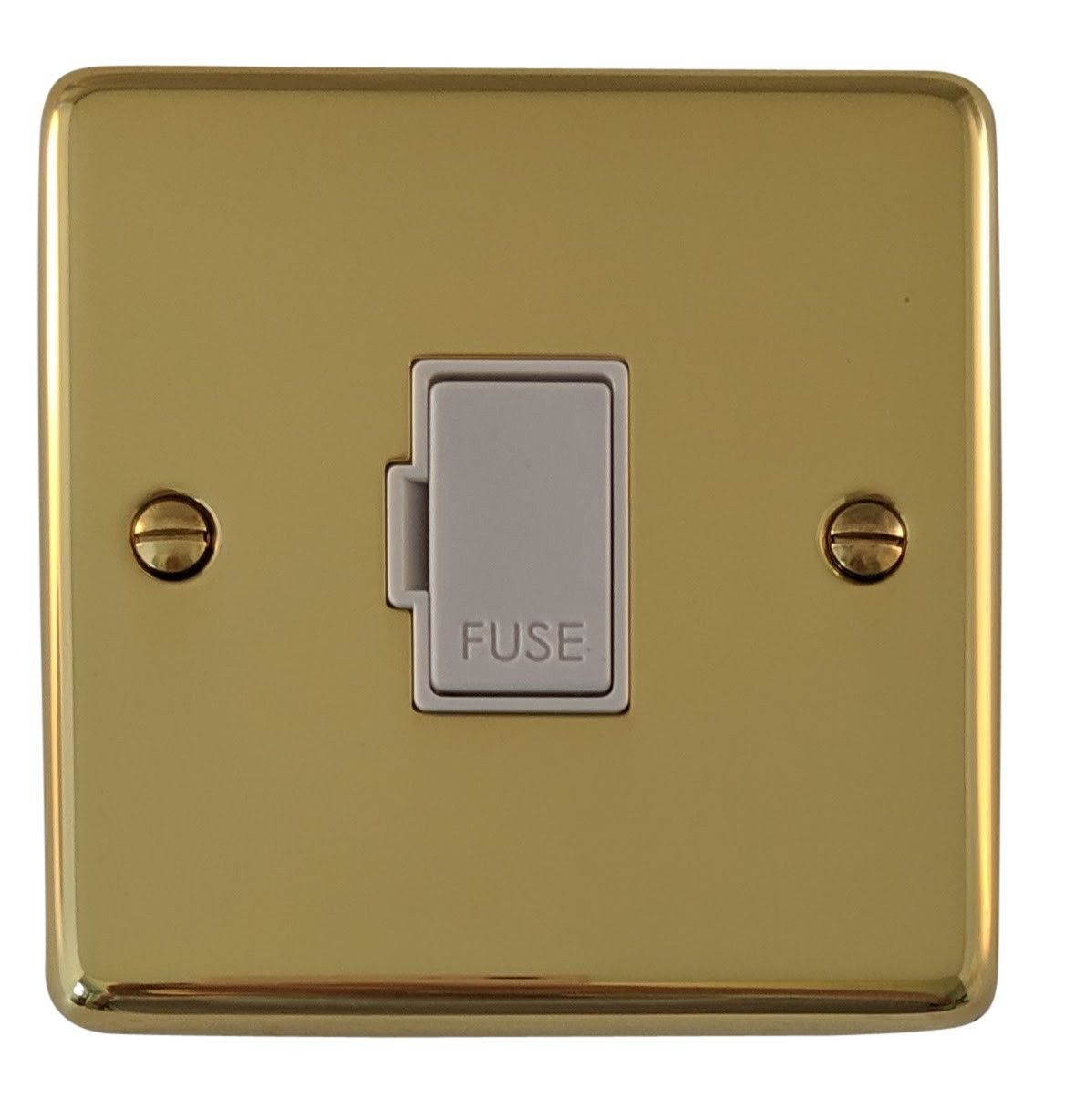 G&H CB90W Standard Plate Polished Brass 1 Gang Fused Spur 13A Unswitched
