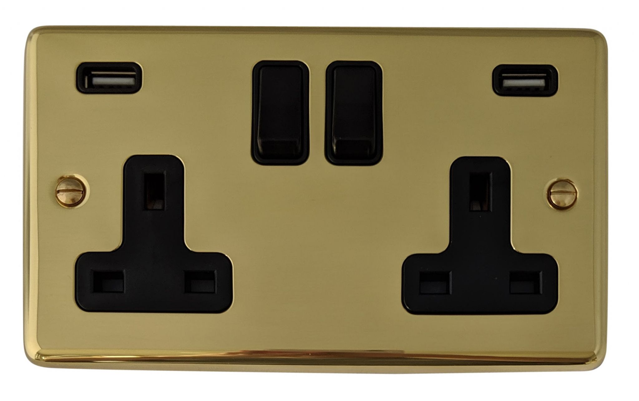 G&H CB910B Standard Plate Polished Brass 2 Gang Double 13A Switched Plug Socket 2.1A USB