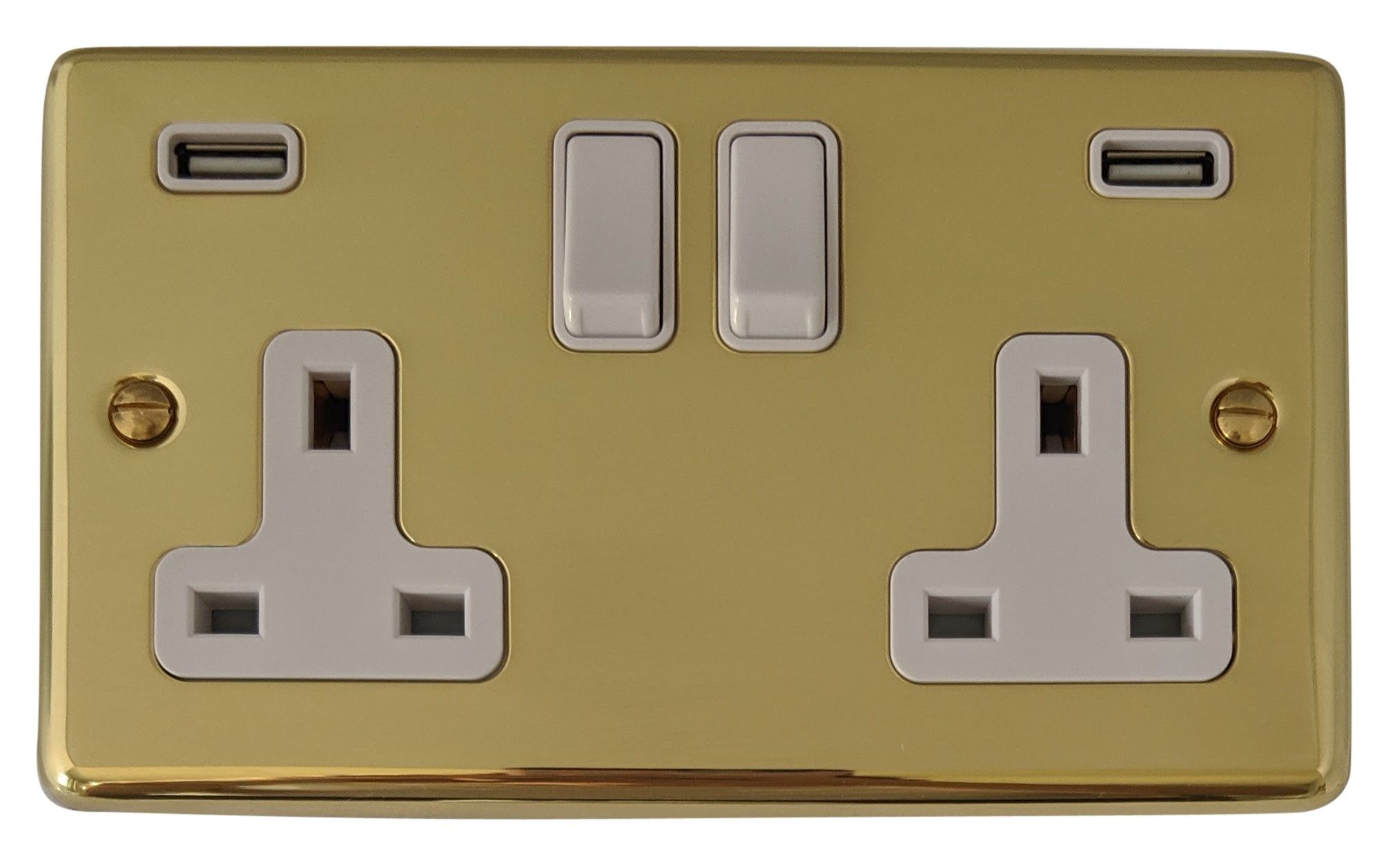 G&H CB910W Standard Plate Polished Brass 2 Gang Double 13A Switched Plug Socket 2.1A USB