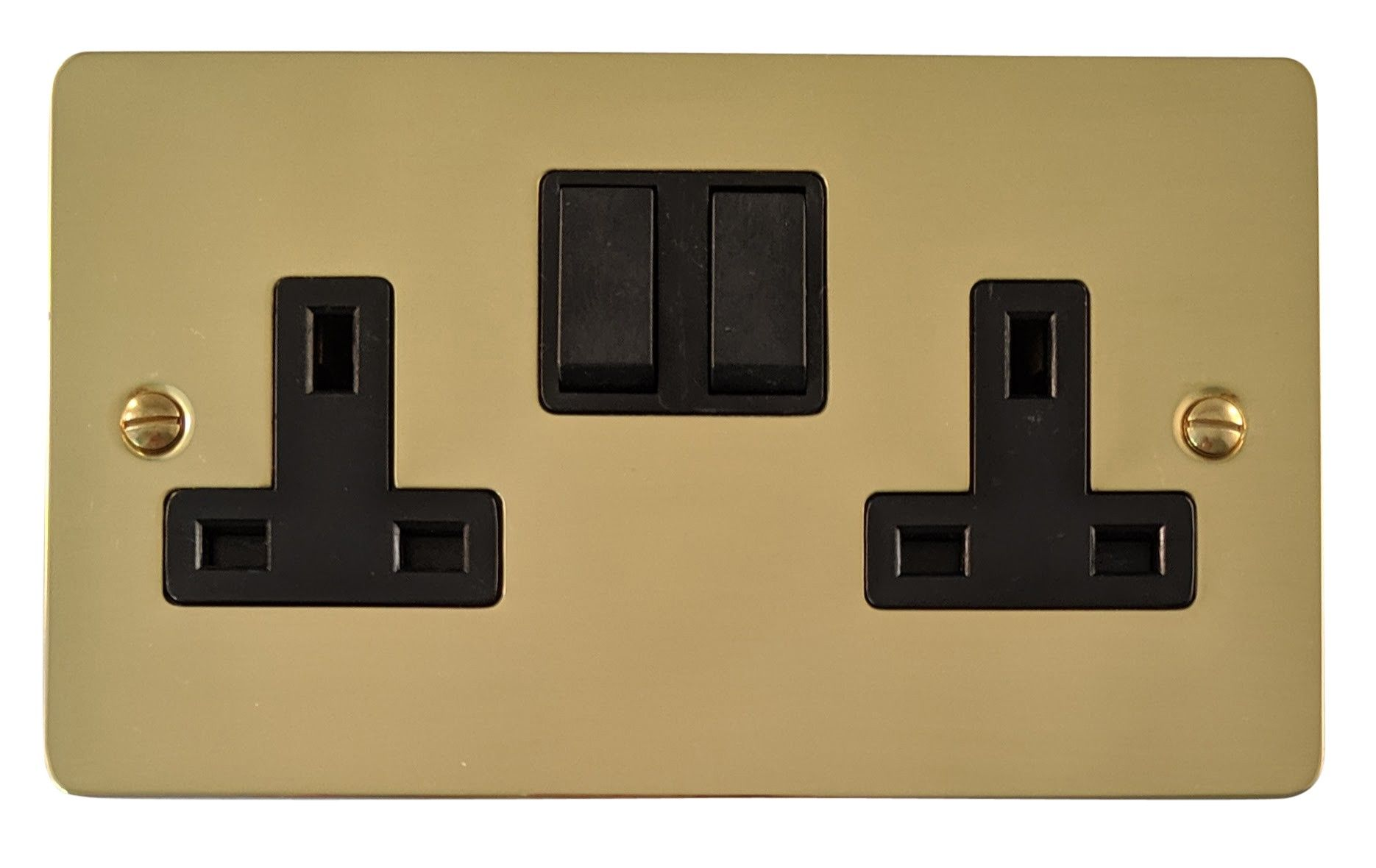 G&H FB10B Flat Plate Polished Brass 2 Gang Double 13A Switched Plug Socket