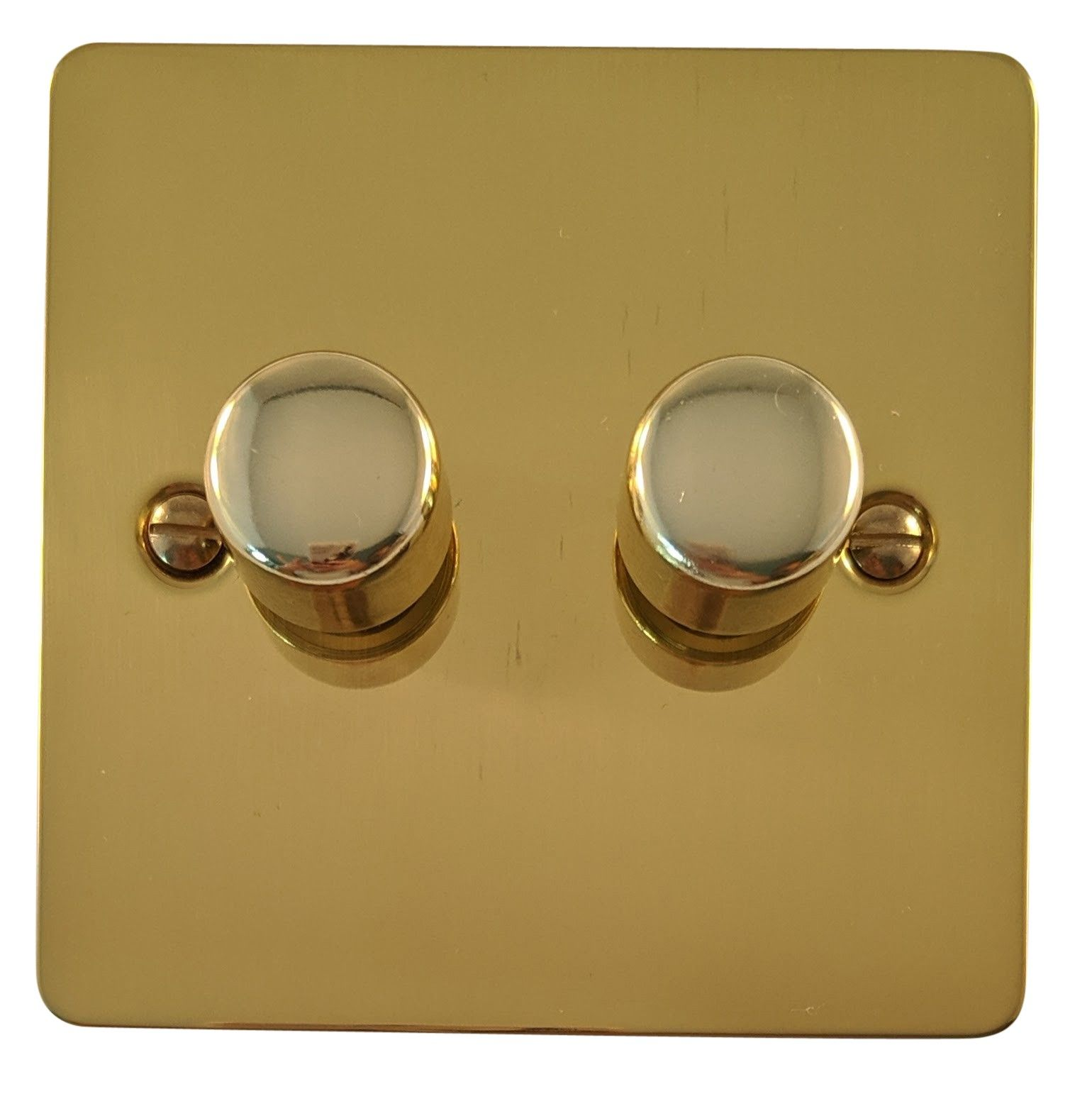 G&H FB12 Flat Plate Polished Brass 2 Gang 1 or 2 Way 40-400W Dimmer Switch