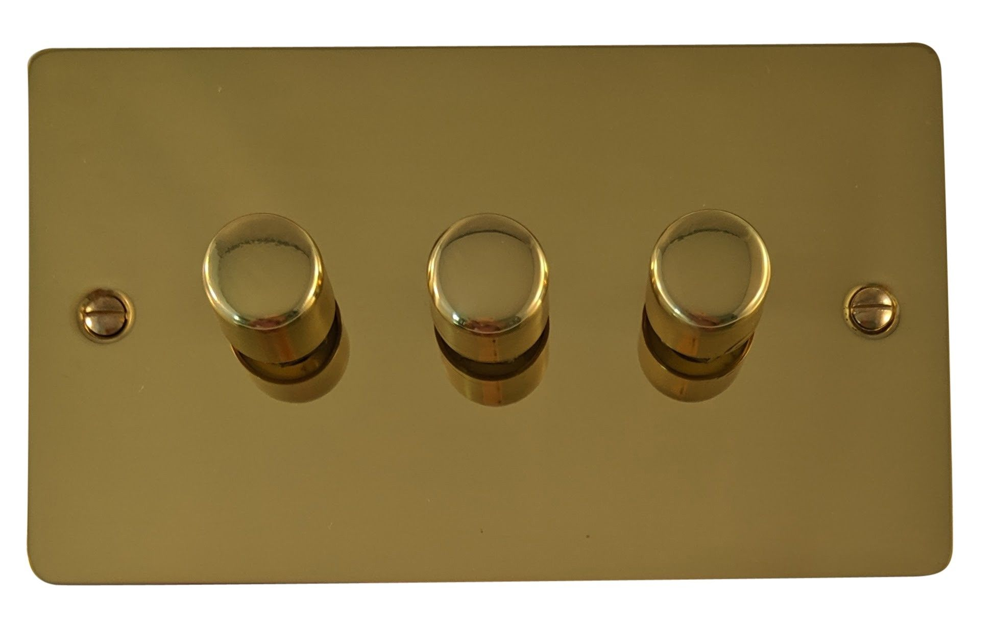 G&H FB13 Flat Plate Polished Brass 3 Gang 1 or 2 Way 40-400W Dimmer Switch