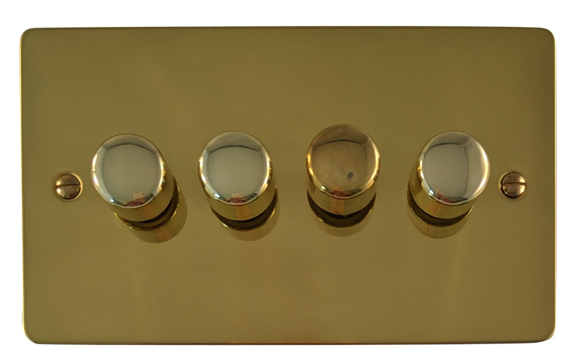 G&H FB14 Flat Plate Polished Brass 4 Gang 1 or 2 Way 40-400W Dimmer Switch