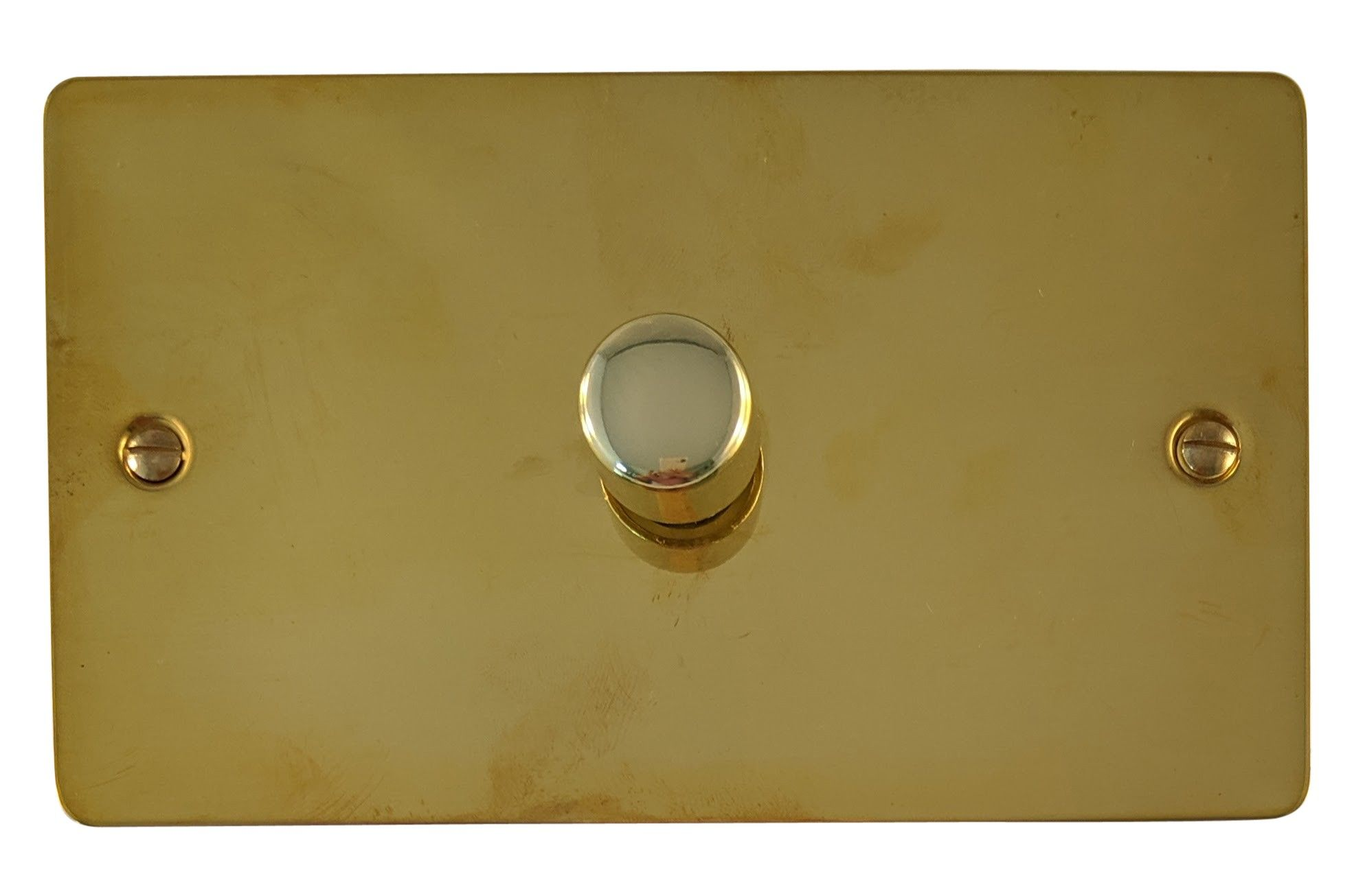 G&H FB16 Flat Plate Polished Brass 1 Gang 1 or 2 Way 700W Dimmer Switch Double Plate