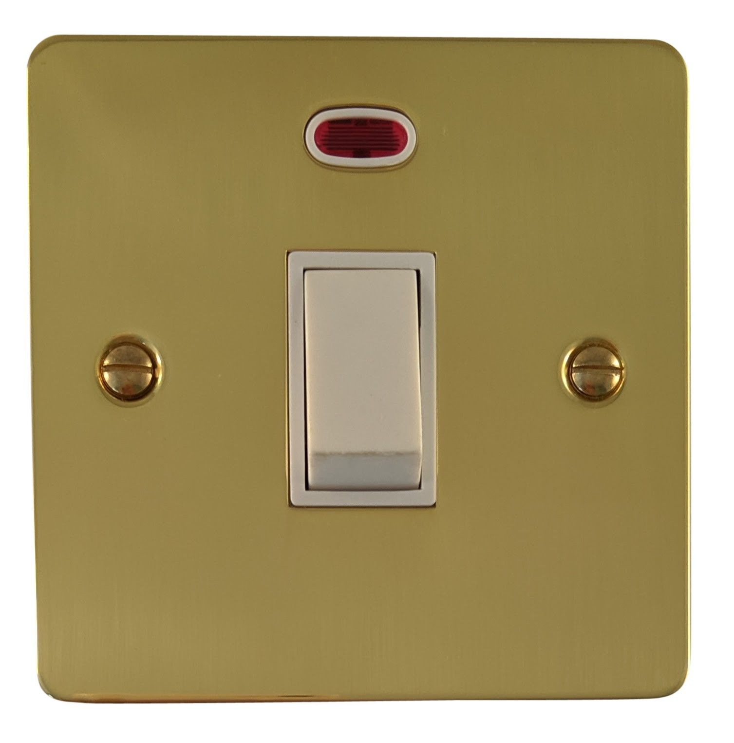 G&H FB26W Flat Plate Polished Brass 1 Gang 20 Amp Double Pole Switch & Neon