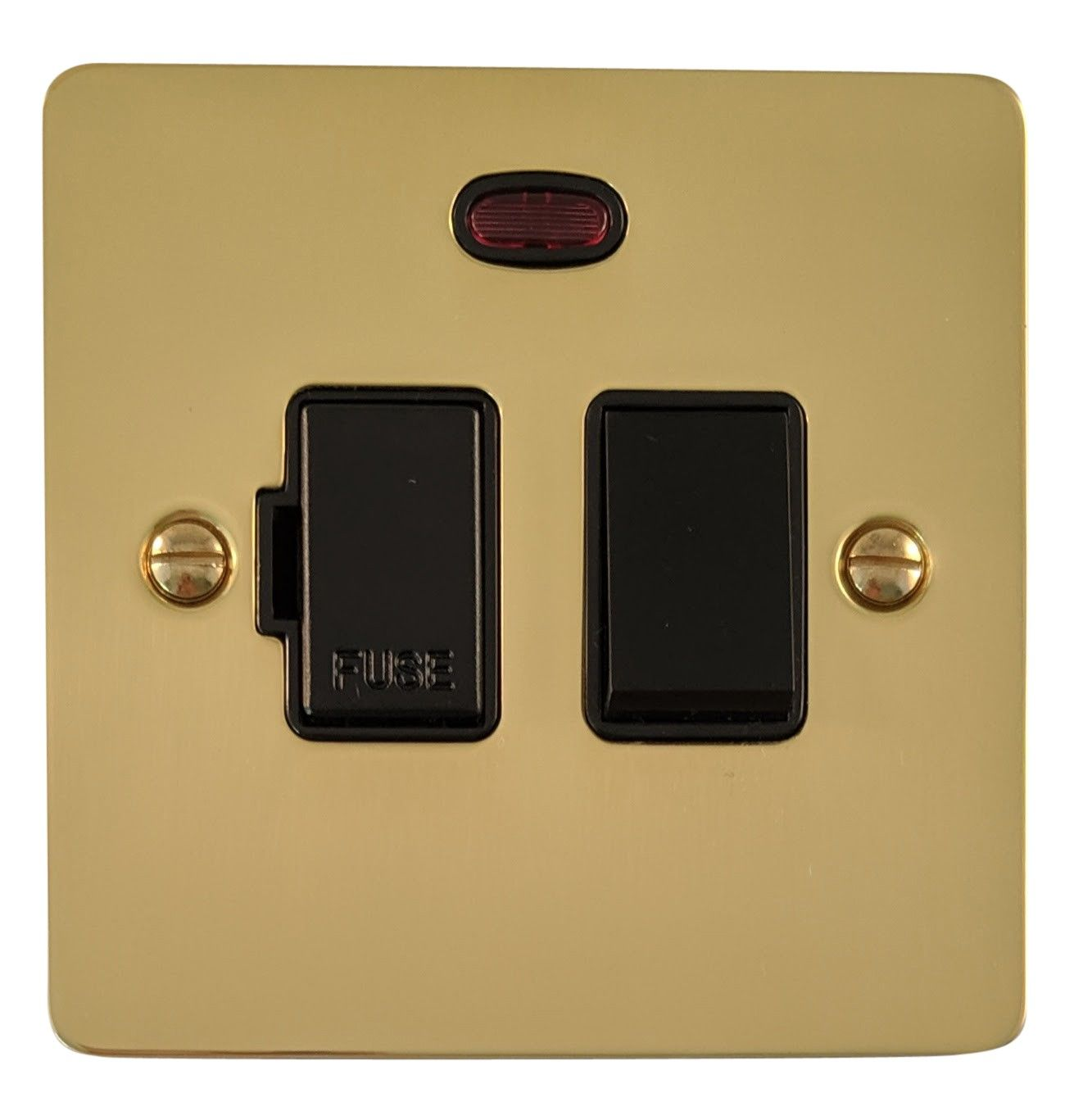 G&H FB27B Flat Plate Polished Brass 1 Gang Fused Spur 13A Switched & Neon