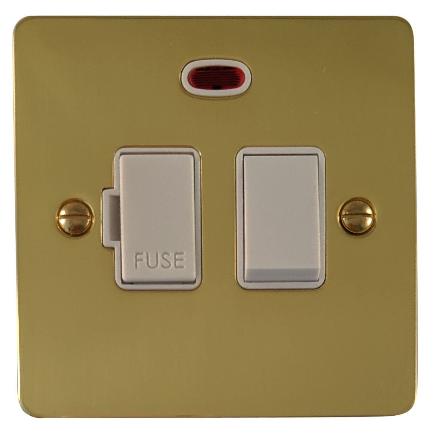 G&H FB27W Flat Plate Polished Brass 1 Gang Fused Spur 13A Switched & Neon