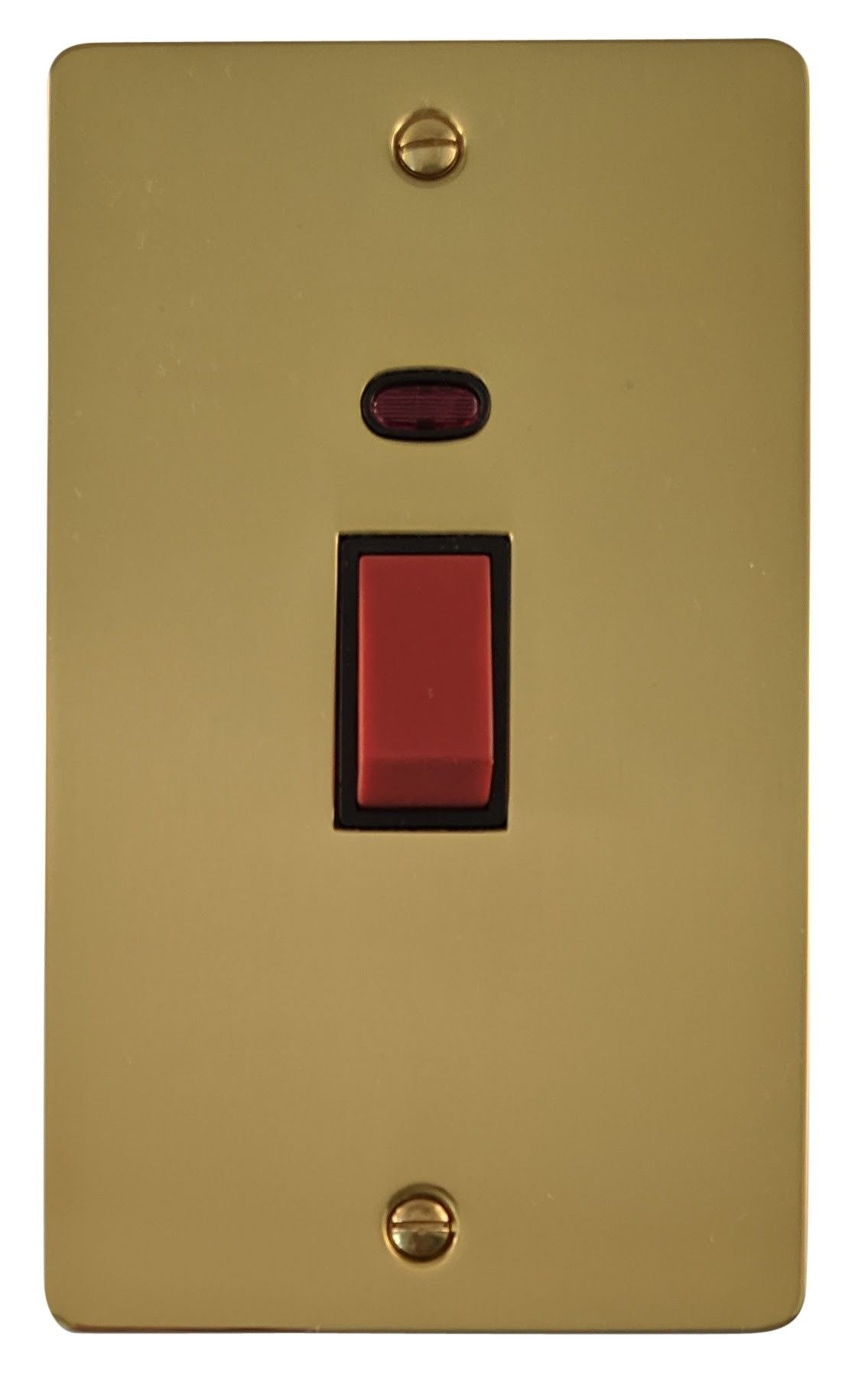 G&H FB28B Flat Plate Polished Brass 45 Amp DP Cooker Switch & Neon Vertical Plate