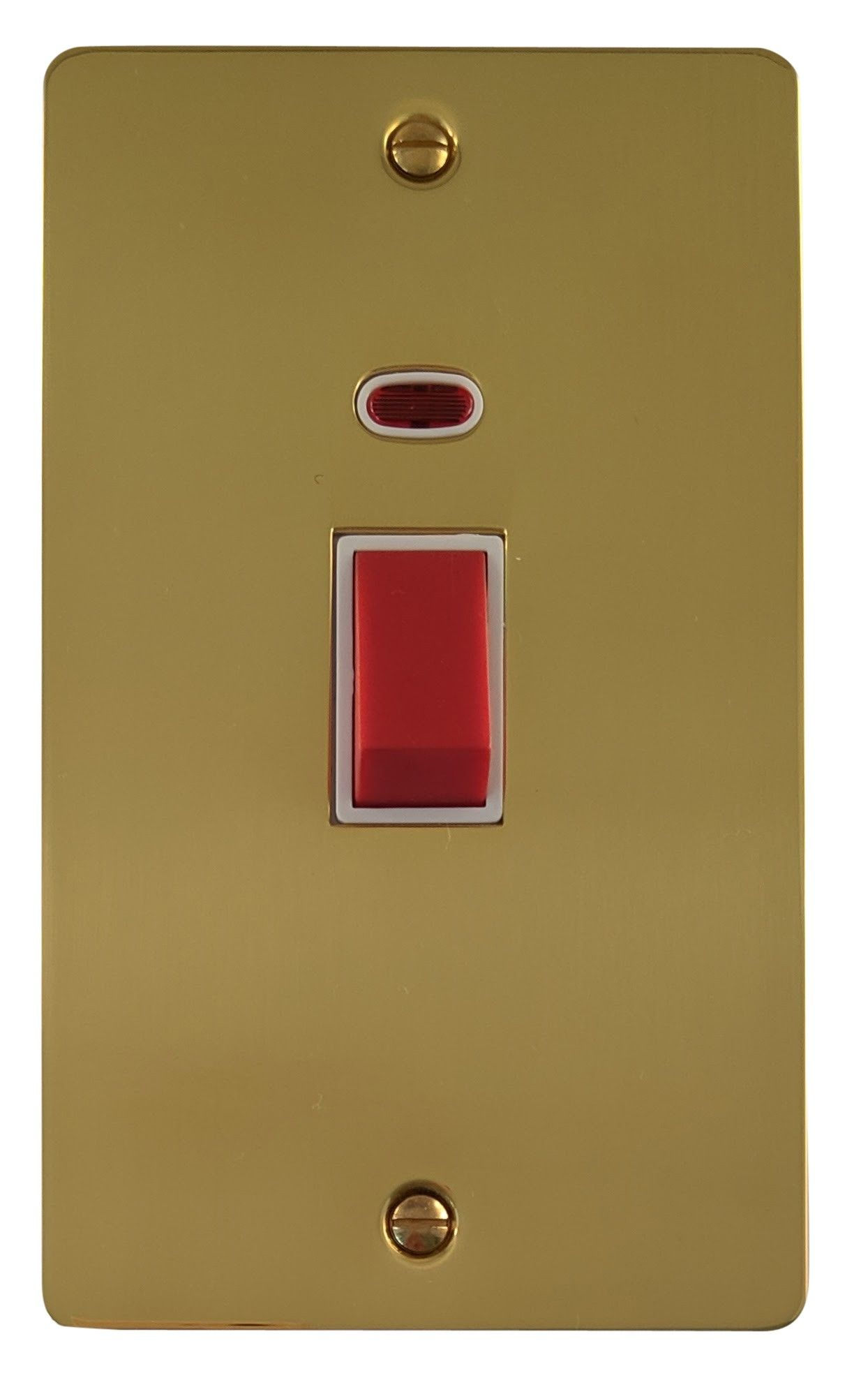 G&H FB28W Flat Plate Polished Brass 45 Amp DP Cooker Switch & Neon Vertical Plate