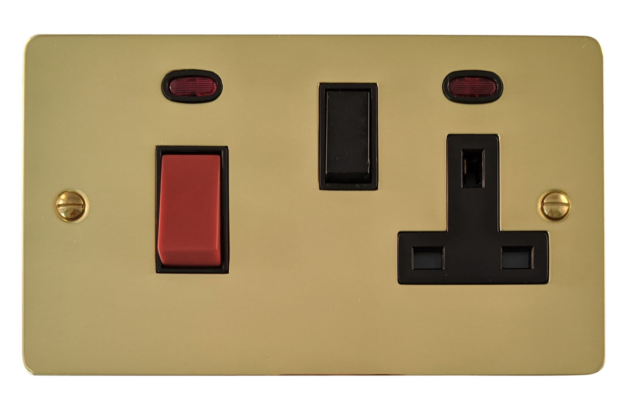 G&H FB29B Flat Plate Polished Brass 45 Amp DP Cooker Switch & 13A Switched Socket
