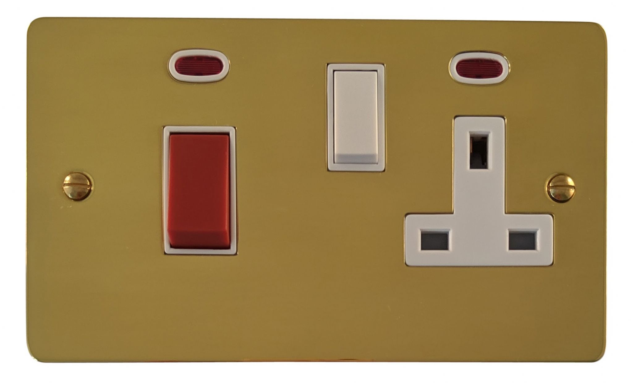 G&H FB29W Flat Plate Polished Brass 45 Amp DP Cooker Switch & 13A Switched Socket
