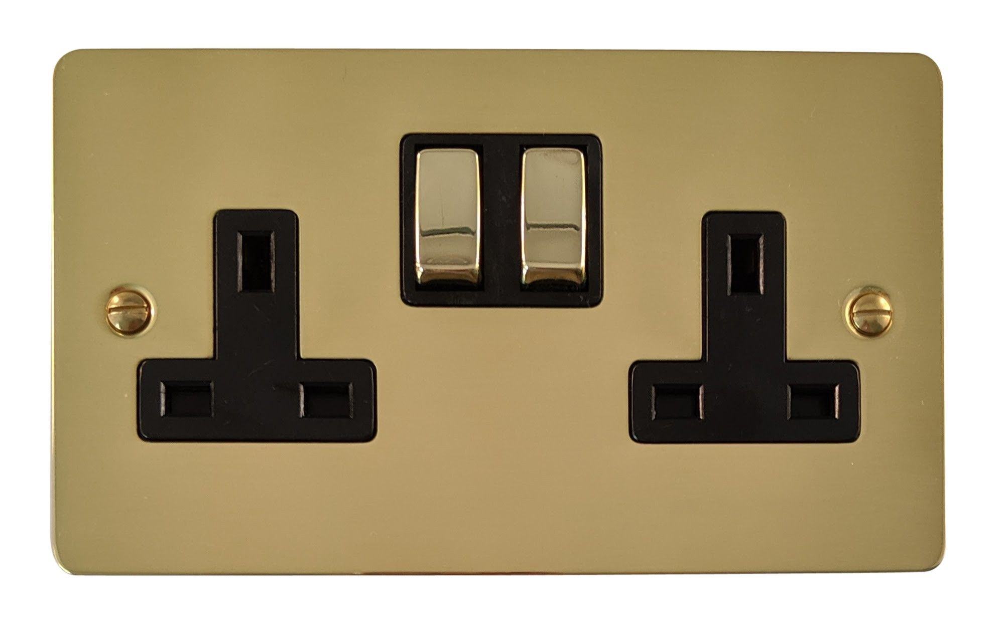 G&H FB310 Flat Plate Polished Brass 2 Gang Double 13A Switched Plug Socket