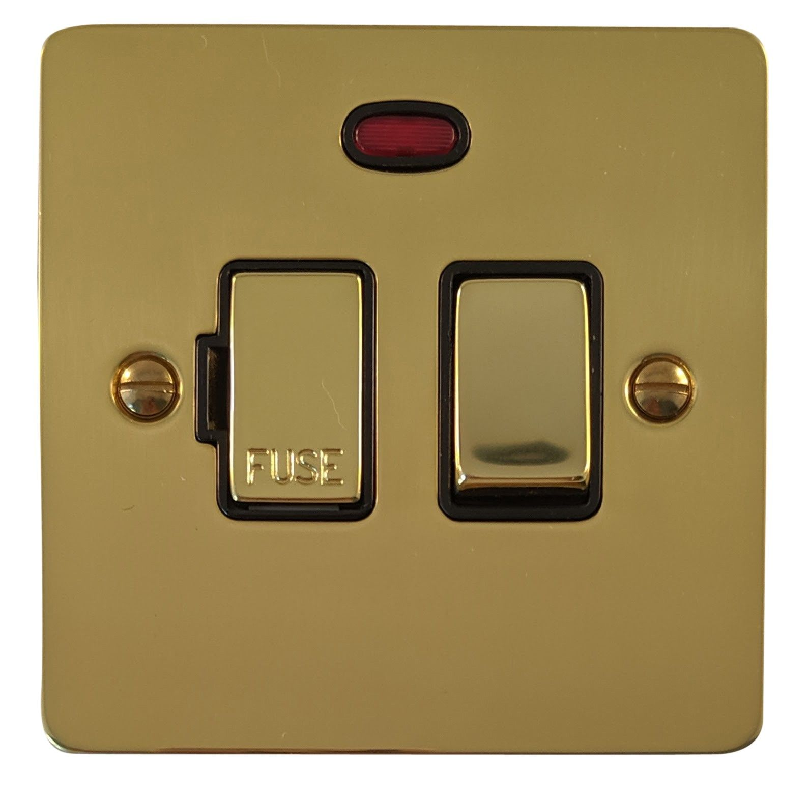 G&H FB327 Flat Plate Polished Brass 1 Gang Fused Spur 13A Switched & Neon