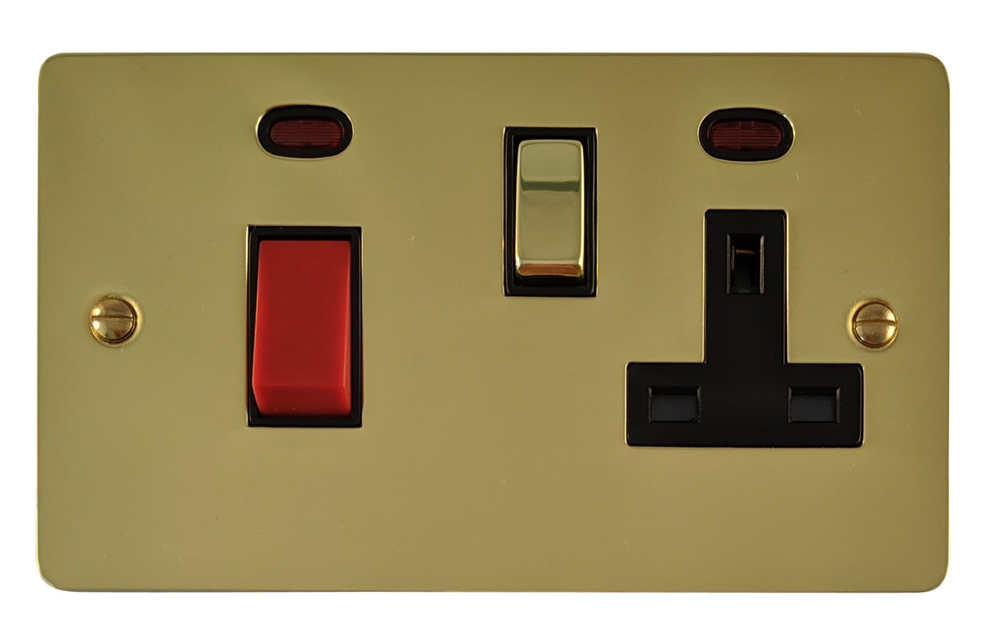 G&H FB329 Flat Plate Polished Brass 45 Amp DP Cooker Switch & 13A Switched Socket