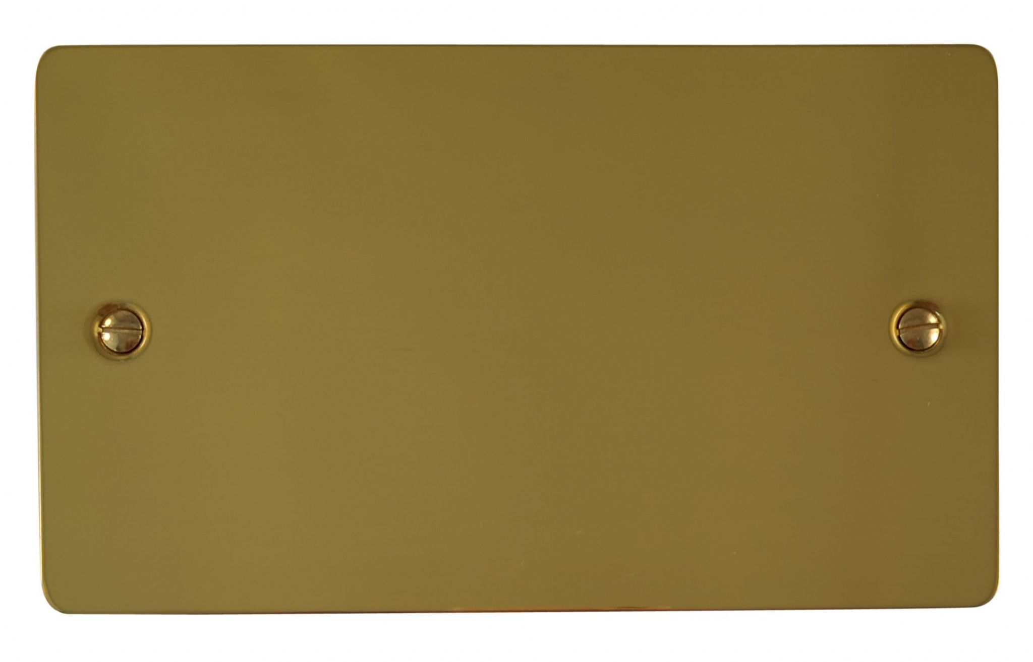 G&H FB32 Flat Plate Polished Brass 2 Gang Double Blank Plate