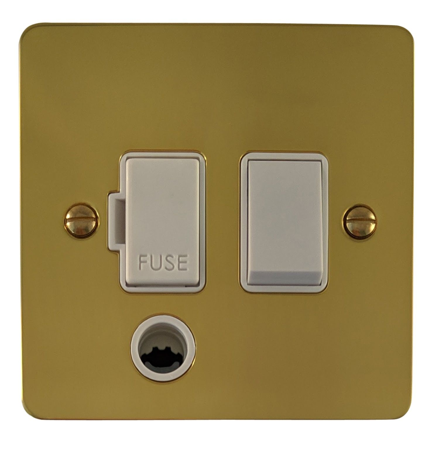 G&H FB56W Flat Plate Polished Brass 1 Gang Fused Spur 13A Switched & Flex Outlet