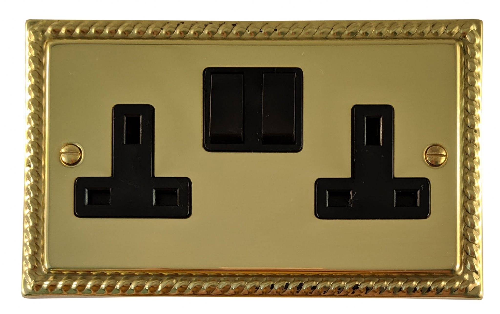 G&H MB10B Monarch Roped Polished Brass 2 Gang Double 13A Switched Plug Socket