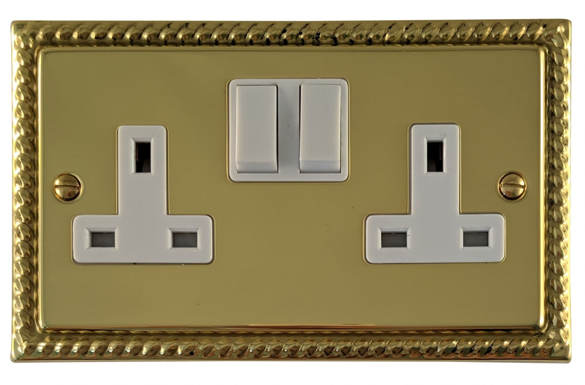 G&H MB10W Monarch Roped Polished Brass 2 Gang Double 13A Switched Plug Socket