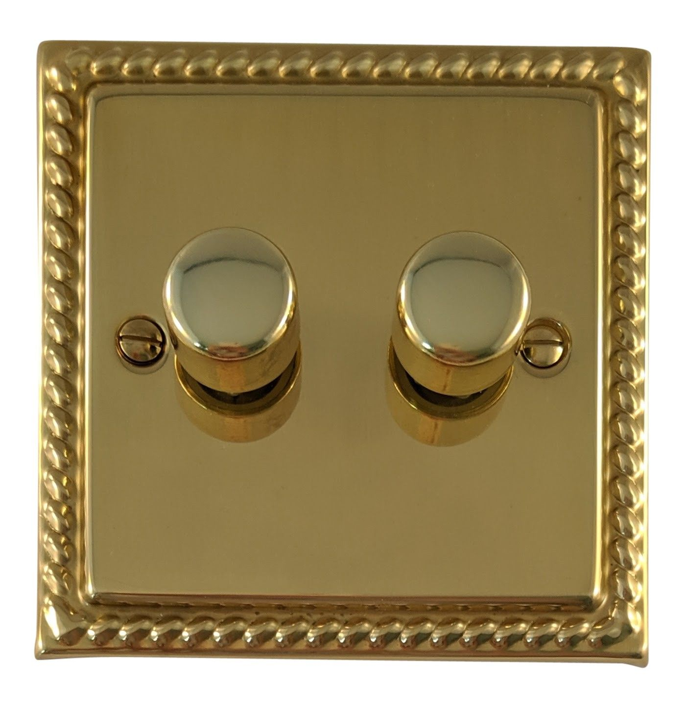 G&H MB12 Monarch Roped Polished Brass 2 Gang 1 or 2 Way 40-400W Dimmer Switch