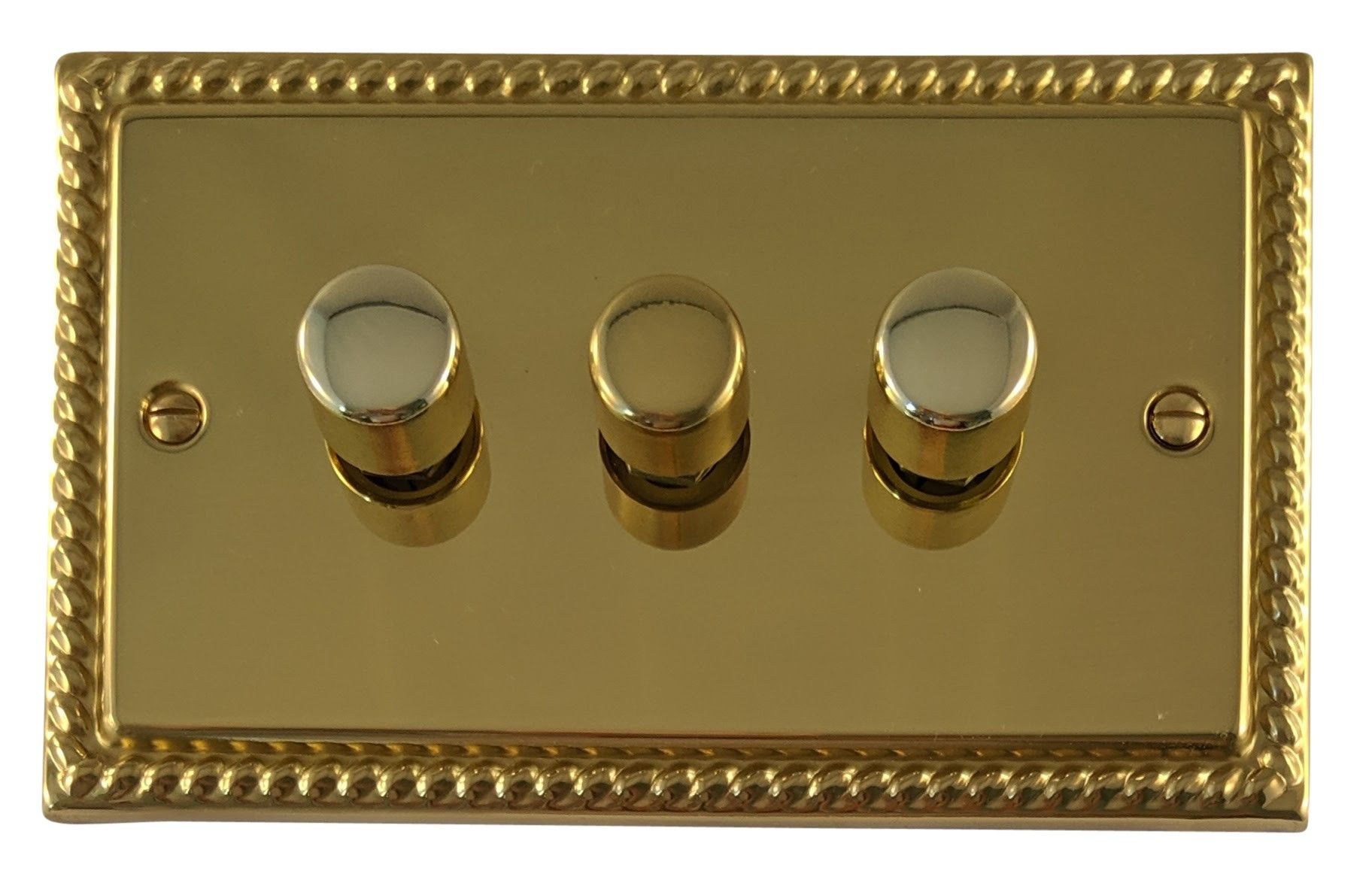G&H MB13 Monarch Roped Polished Brass 3 Gang 1 or 2 Way 40-400W Dimmer Switch