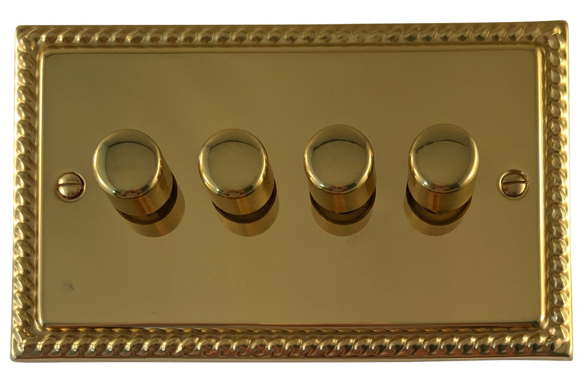 G&H MB14 Monarch Roped Polished Brass 4 Gang 1 or 2 Way 40-400W Dimmer Switch