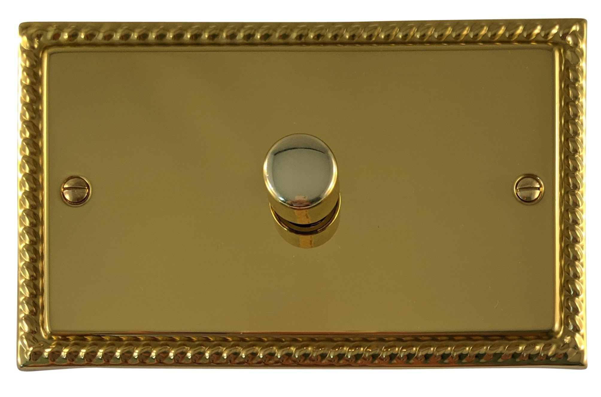 G&H MB16 Monarch Roped Polished Brass 1 Gang 1 or 2 Way 700W Dimmer Switch Double Plate