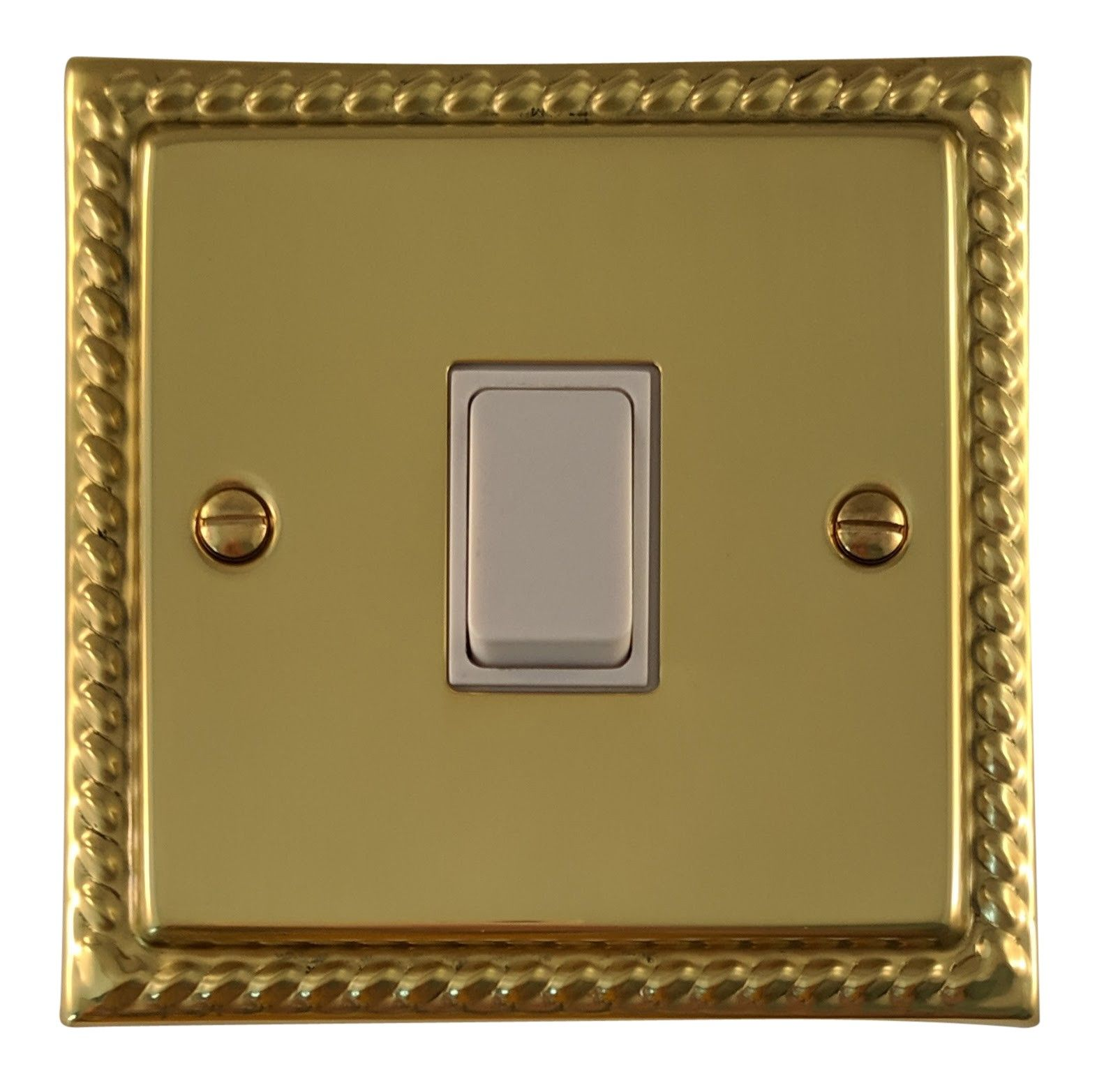G&H MB1W Monarch Roped Polished Brass 1 Gang 1 or 2 Way Rocker Light Switch