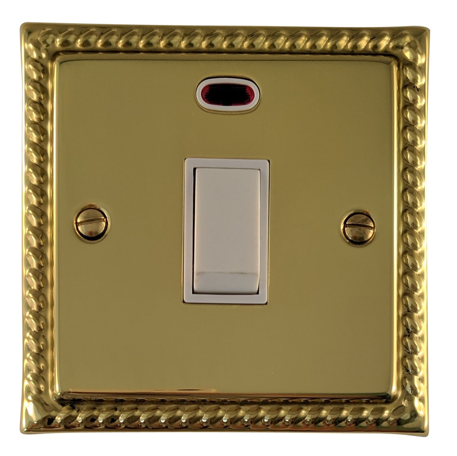 G&H MB26W Monarch Roped Polished Brass 1 Gang 20 Amp Double Pole Switch & Neon