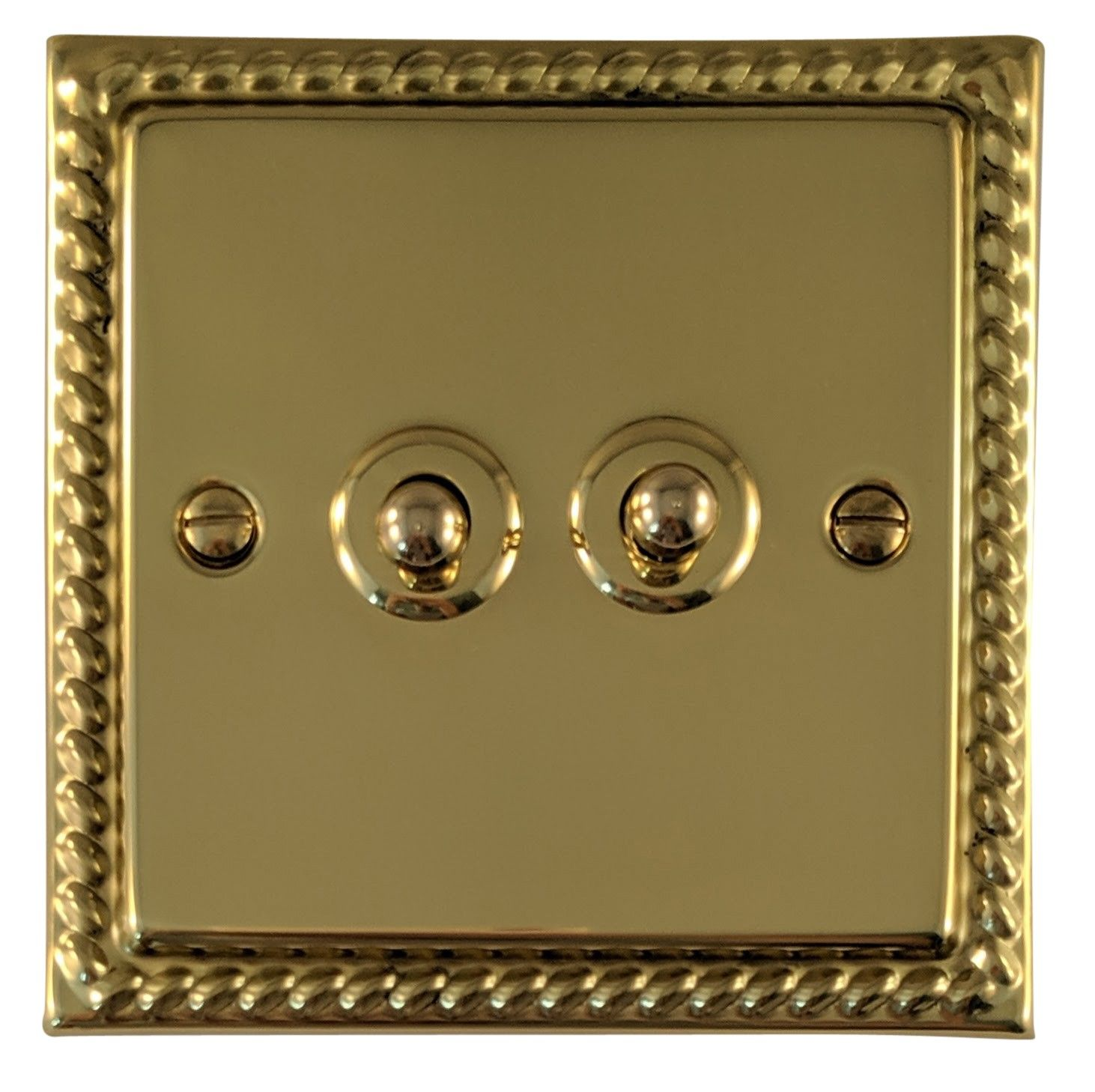 G&H MB282 Monarch Roped Polished Brass 2 Gang 1 or 2 Way Toggle Light Switch