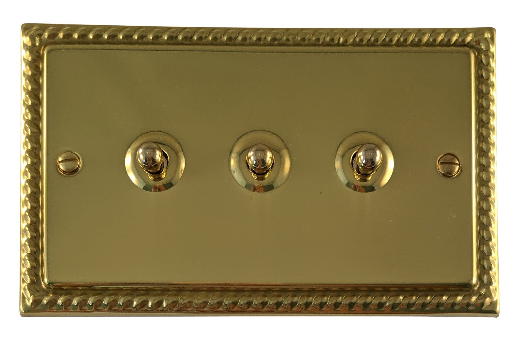 G&H MB283 Monarch Roped Polished Brass 3 Gang 1 or 2 Way Toggle Light Switch