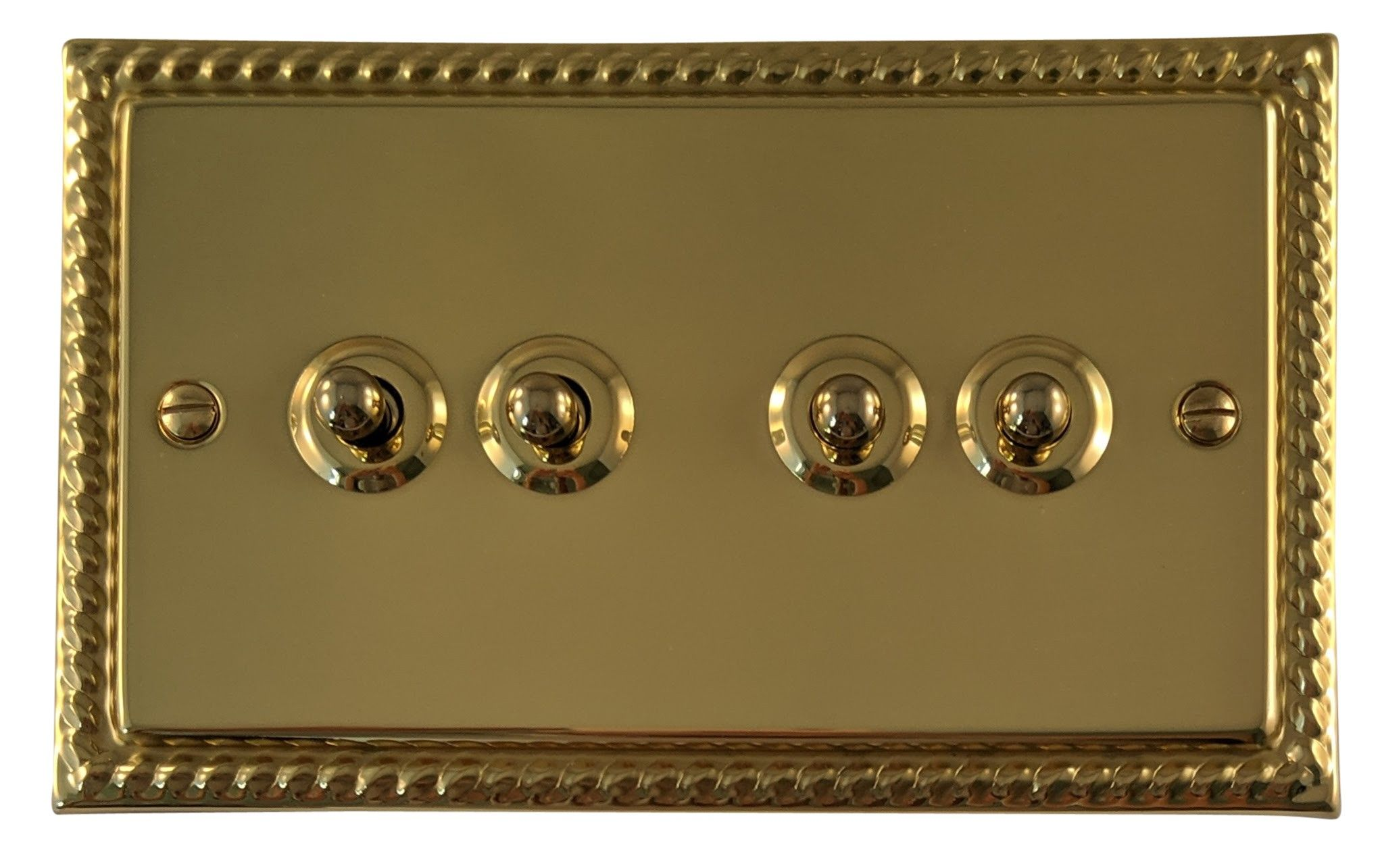 G&H MB284 Monarch Roped Polished Brass 4 Gang 1 or 2 Way Toggle Light Switch