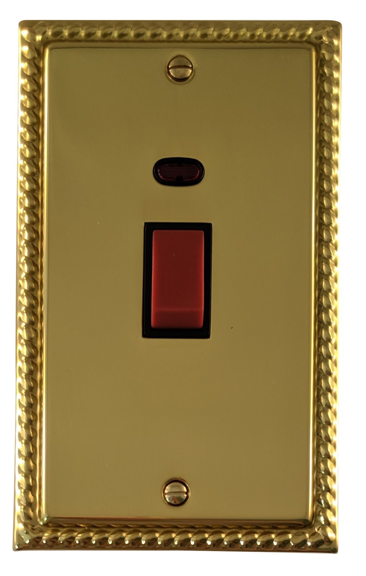 G&H MB28B Monarch Roped Polished Brass 45 Amp DP Cooker Switch & Neon Vertical Plate