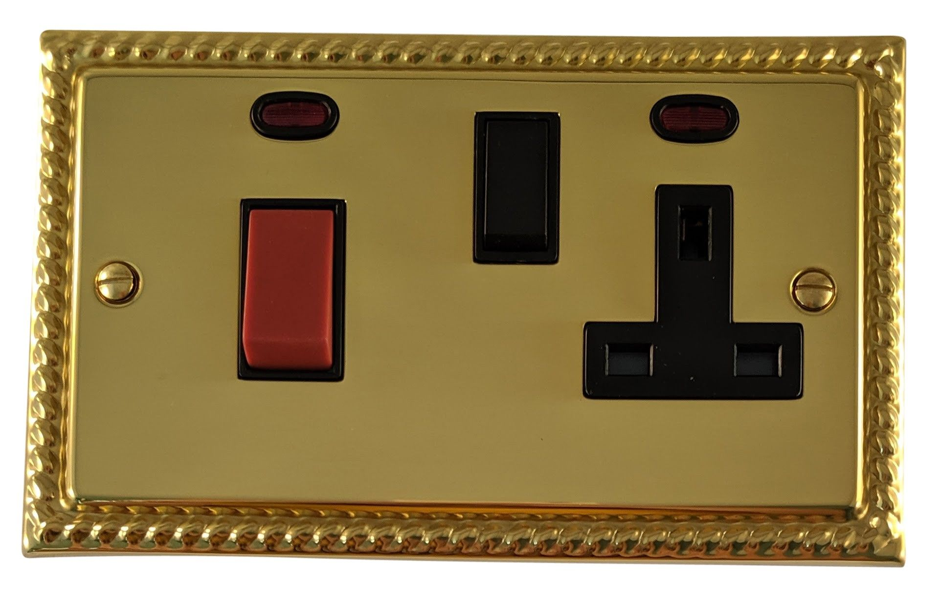 G&H MB29B Monarch Roped Polished Brass 45 Amp DP Cooker Switch & 13A Switched Socket