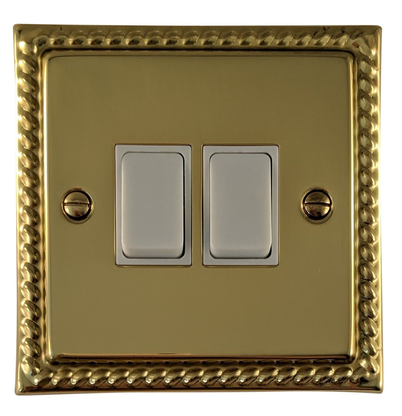 G&H MB2W Monarch Roped Polished Brass 2 Gang 1 or 2 Way Rocker Light Switch