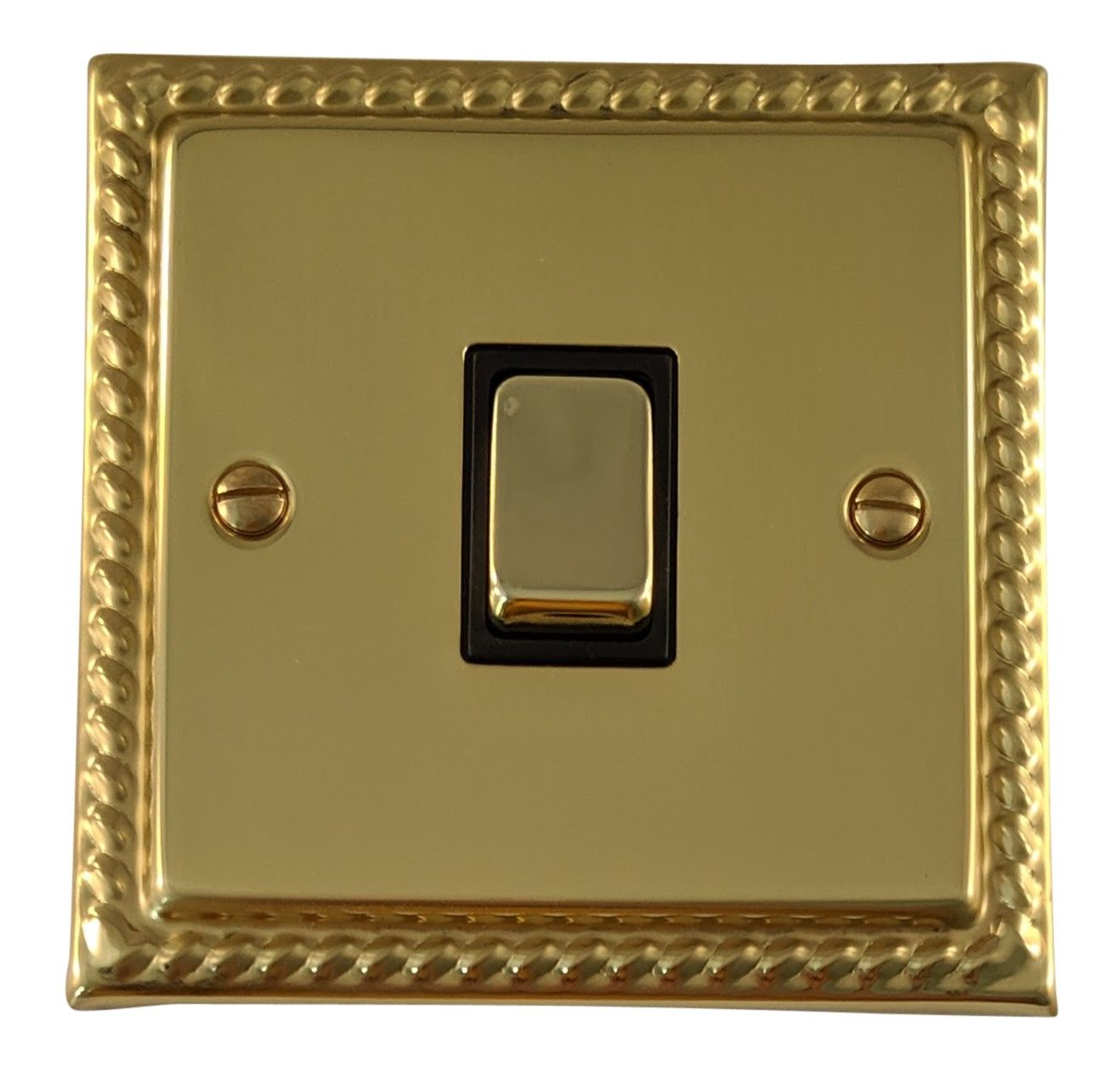 G&H MB301 Monarch Roped Polished Brass 1 Gang 1 or 2 Way Rocker Light Switch