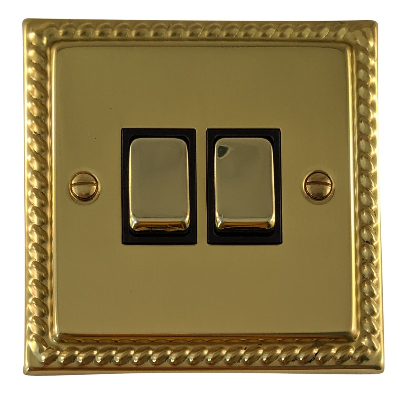 G&H MB302 Monarch Roped Polished Brass 2 Gang 1 or 2 Way Rocker Light Switch