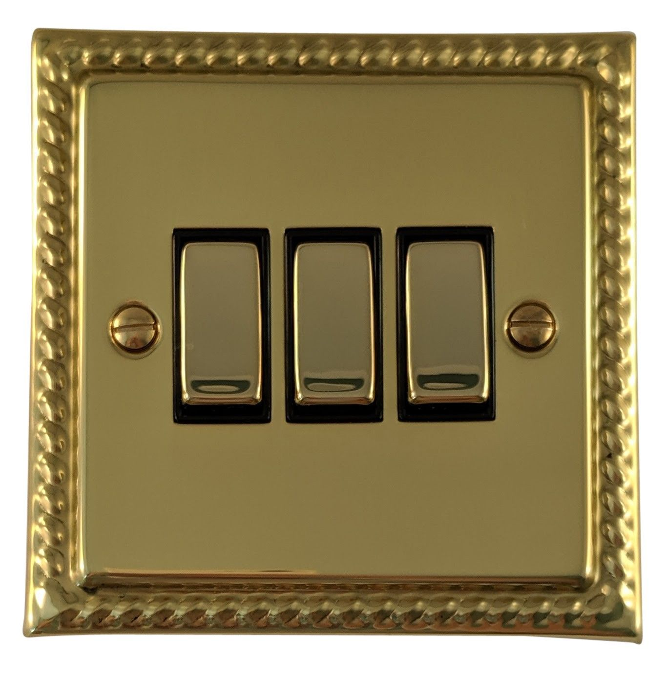 G&H MB303 Monarch Roped Polished Brass 3 Gang 1 or 2 Way Rocker Light Switch