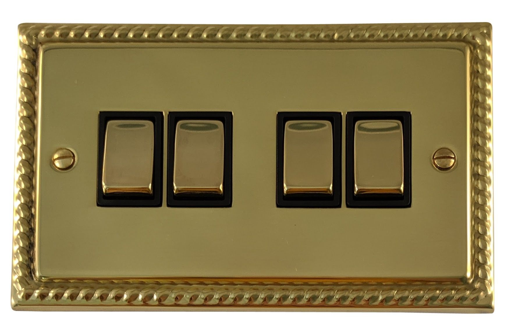 G&H MB304 Monarch Roped Polished Brass 4 Gang 1 or 2 Way Rocker Light Switch