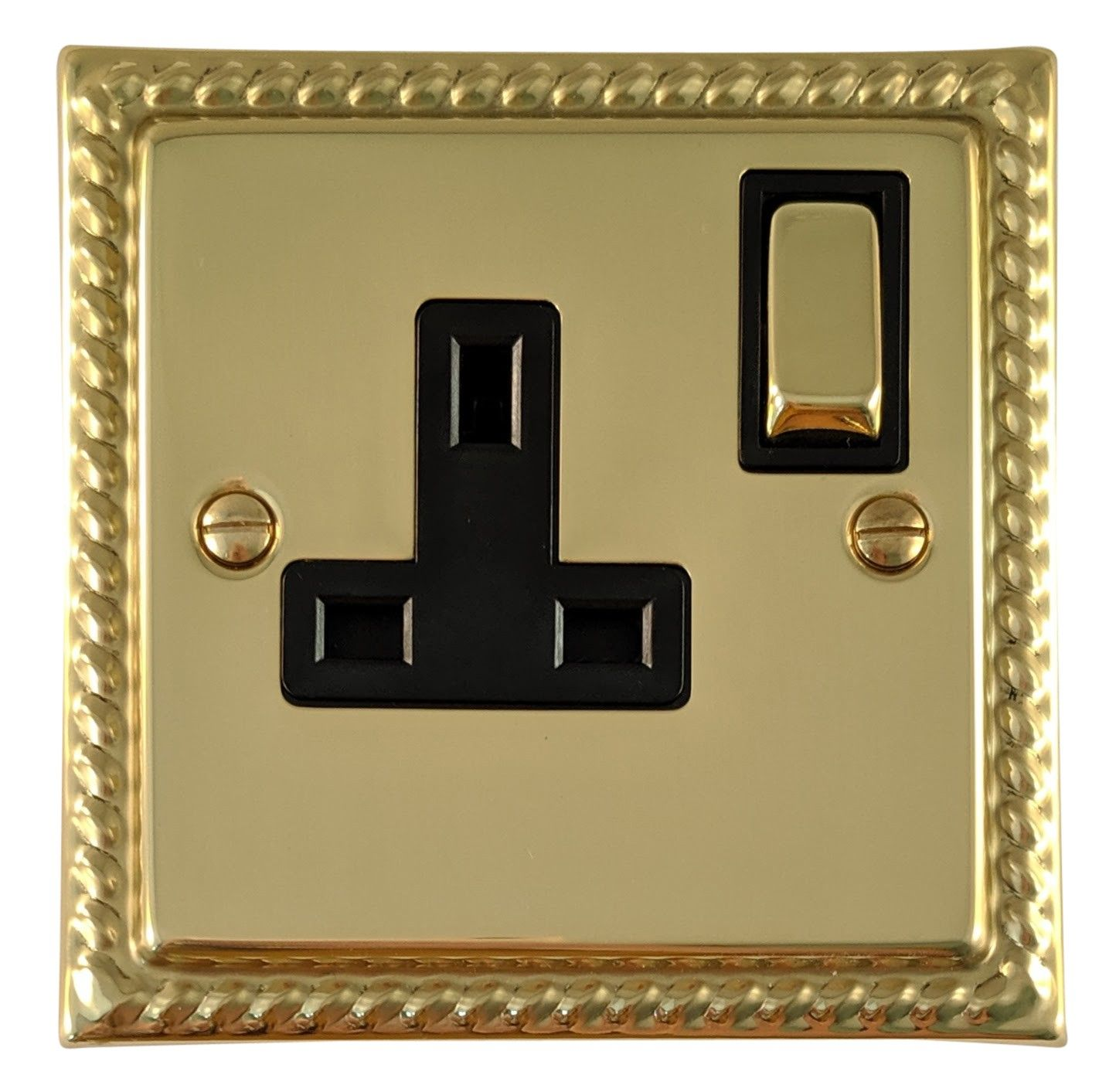 G&H MB309 Monarch Roped Polished Brass 1 Gang Single 13A Switched Plug Socket