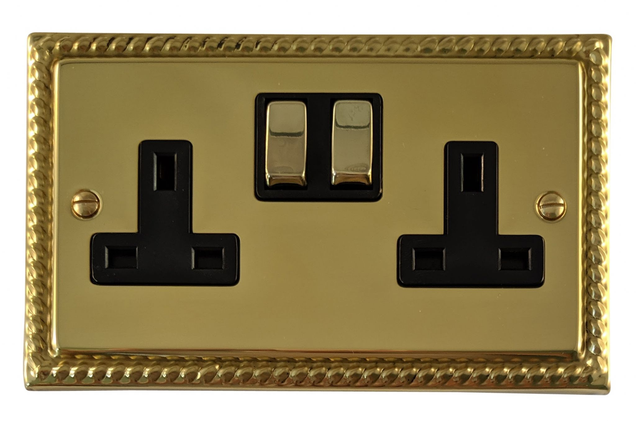 G&H MB310 Monarch Roped Polished Brass 2 Gang Double 13A Switched Plug Socket