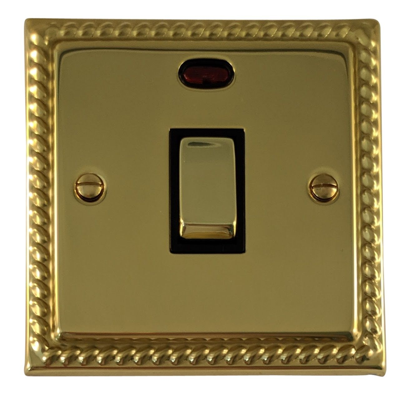 G&H MB326 Monarch Roped Polished Brass 1 Gang 20 Amp Double Pole Switch & Neon