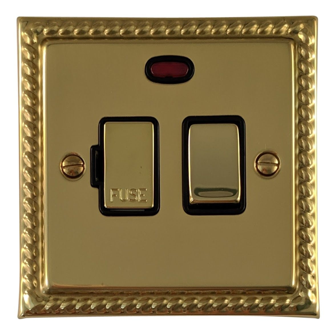 G&H MB327 Monarch Roped Polished Brass 1 Gang Fused Spur 13A Switched & Neon