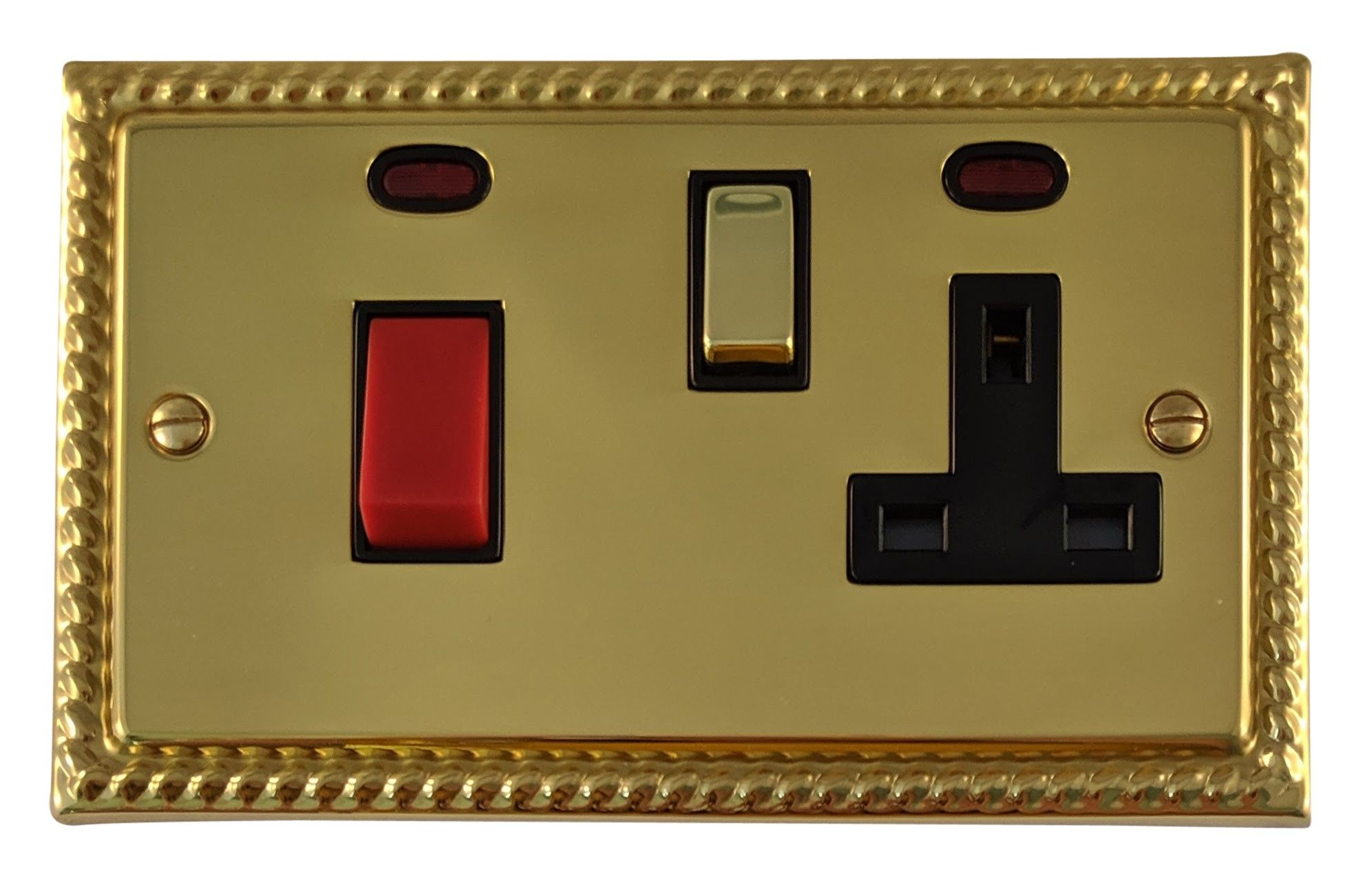 G&H MB329 Monarch Roped Polished Brass 45 Amp DP Cooker Switch & 13A Switched Socket