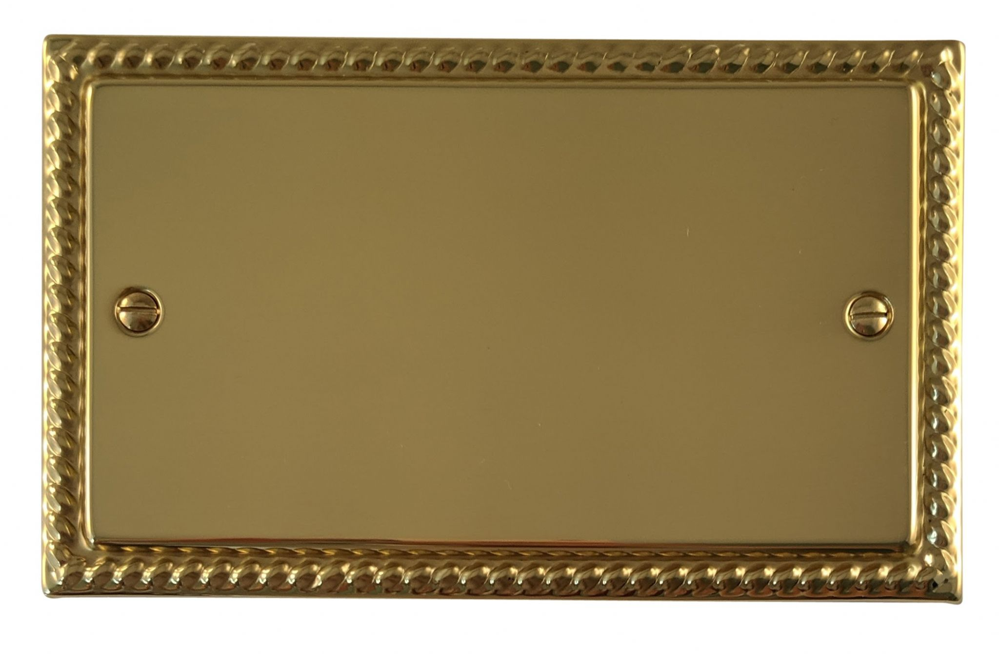 G&H MB32 Monarch Roped Polished Brass 2 Gang Double Blank Plate