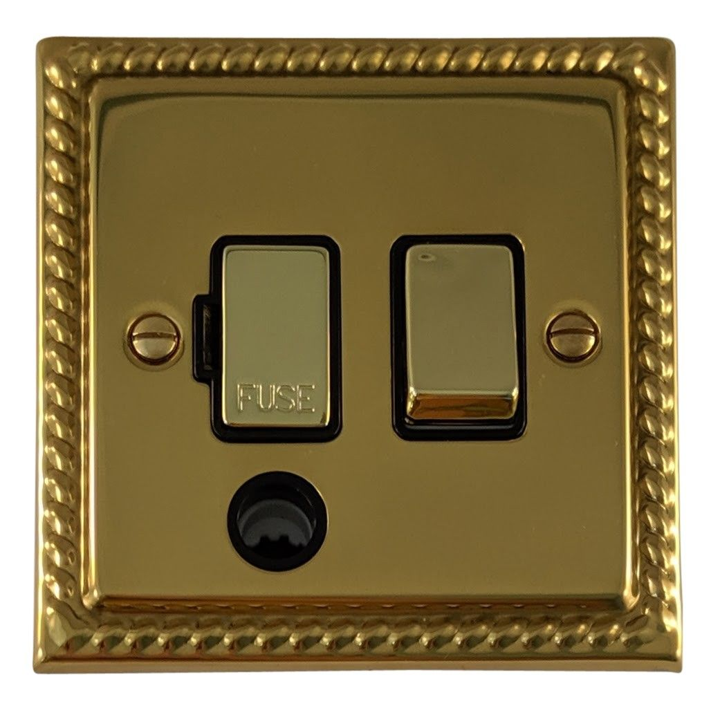 G&H MB356 Monarch Roped Polished Brass 1 Gang Fused Spur 13A Switched & Flex Outlet