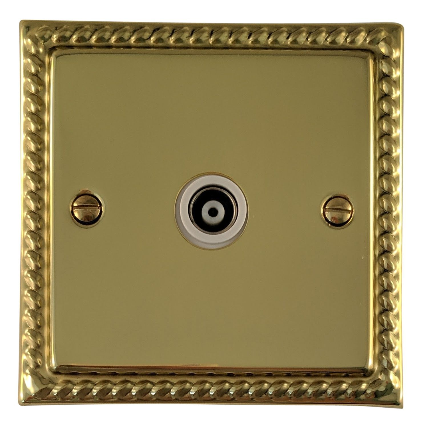 G&H MB35W Monarch Roped Polished Brass 1 Gang TV Coax Socket Point