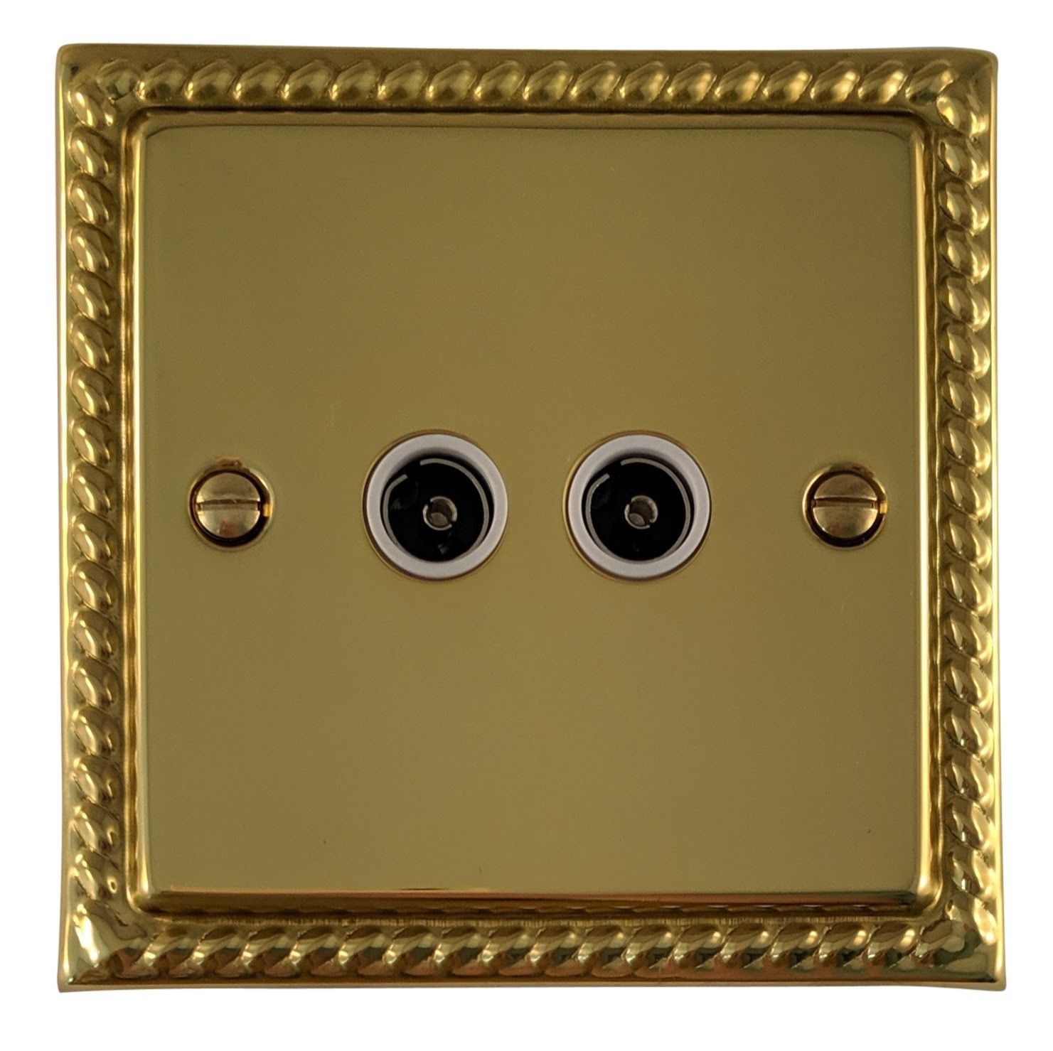 G&H MB36W Monarch Roped Polished Brass 2 Gang TV Coax Socket Point